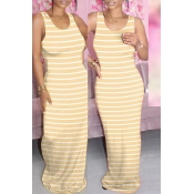 lovely Casual Striped Yellow Maxi Dress