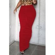 lovely Casual Fold Design Red Skirt