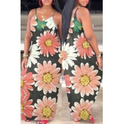 lovely Trendy Print Pink Maxi Dress