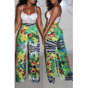 lovely Casual Plants Print Green Pants