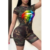 lovely Leisure O Neck Camo Print Army Green Two-pi