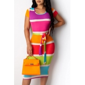 lovely Casual Rainbow Striped Multicolor Knee Leng