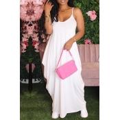 lovely Casual Fold Design White Ankle Length Dress