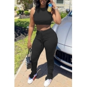 lovely Casual Fold Design Black Two-piece Pants Se