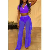 lovely Trendy See-through Purple Two-piece Pants S