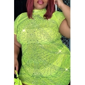 lovely Casual See-through GreenMini Plus Size Dre