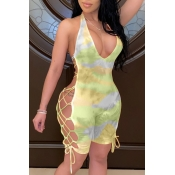 lovely Sexy Tie-dye Bandage Design Green One-piece
