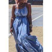 lovely Bohemian Loose Fold Design Blue Maxi Dress