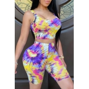Lovely Leisure Tie Dye Yellow Two Piece Shorts Set