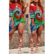 lovely Casual Tie-dye Red Knee Length Plus Size Dr