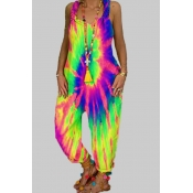 lovely Stylish Tie-dye Light Green Plus Size One-p