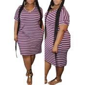 lovely Leisure Striped Purple Knee Length Plus Siz