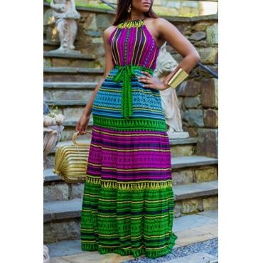 Lovely Bohemian Print Multicolor Maxi Dress