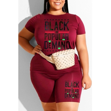 Lovely Casual Letter Print Wine Red Plus Size Two-piece Shorts Set
