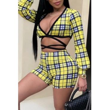 Lovely Sportswear Grid Yellow Two-piece Shorts Set