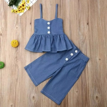 Lovely Trendy Buttons Design Deep Blue Girl Two-piece Pants Set