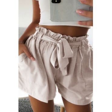 Lovely Casual Lace-up Apricot Plus Size Shorts