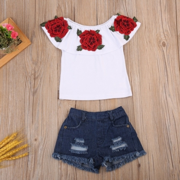 Lovely Trendy Print White Girl Two-piece Shorts Set