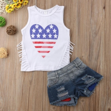 Lovely Casual Heart White Girl Two-piece Shorts Set