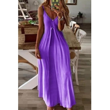 Lovely Trendy V Neck Loose Purple Ankle Length Plus Size Dress
