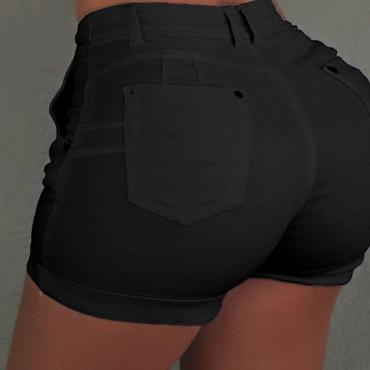 Lovely Stylish Lace-up Black Plus Size Shorts