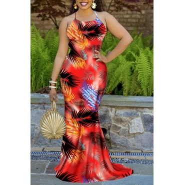 Lovely Stylish Plants Print Orange Red Maxi Dress