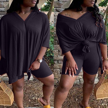 Lovely Casual Asymmetrical Black Plus Size Two-piece Shorts Set