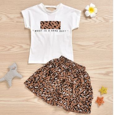 Lovely Casual Print Brown Girl Two-piece Skirt Set