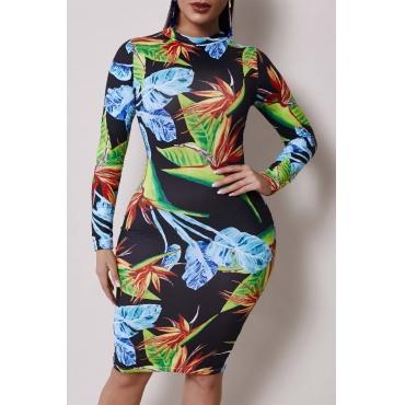 Lovely Casual O Neck Plants Print Black Knee Length Dress