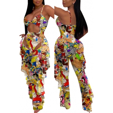 Lovely Cartoon Print Multicolor One-piece Swimsuit(With Pants)