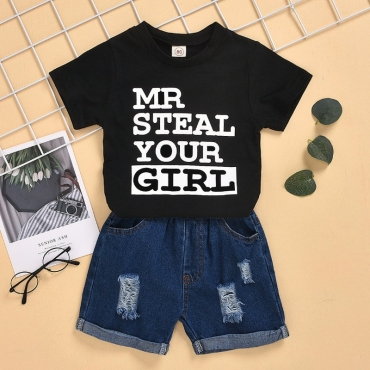 Lovely Casual Letter Black Boy Two-piece Shorts Set