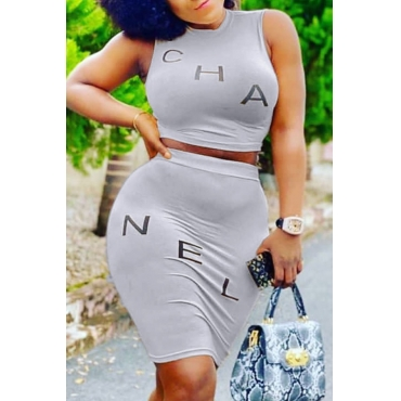 Lovely Casual Letter Grey Two-piece Skirt Set