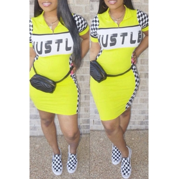Lovely Casual Letter Print Yellow Mini Dress
