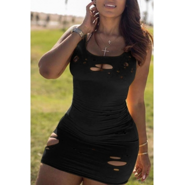 Lovely Trendy Hollow-out Black Mini Dress