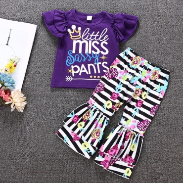 Lovely Casual Print Purple Girl Two-piece Pants Set