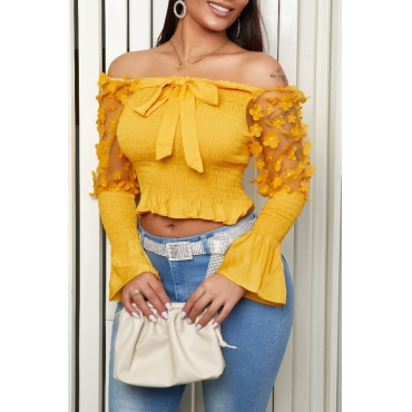 Lovely Trendy Patchwork Yellow Blouse