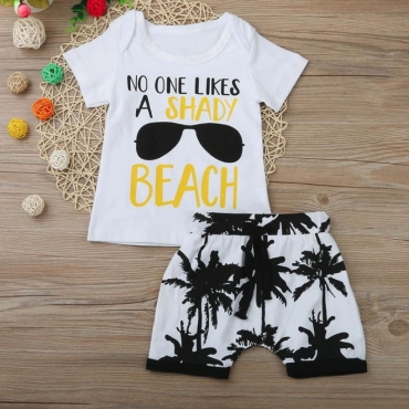 Lovely Casual O Neck Print White Boy Two-piece Shorts Set