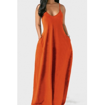 Lovely Leisure Pocket Patched Croci Maxi Plus Size Dress