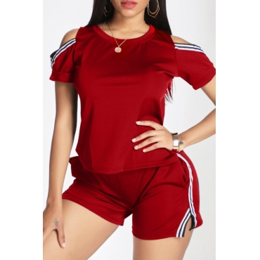 Lovely Casual Hollow-out Red Two-piece Shorts Set