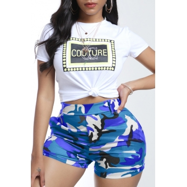 lovely Leisure Camo Print Blue Two-piece Shorts Set