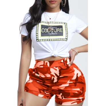 lovely Leisure Camo Print Orange Two-piece Shorts Set