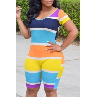 lovely Trendy Striped Multicolor One-piece Romper