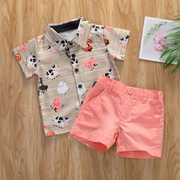 lovely Trendy Cartoon Print Pink Boy Two-piece Shorts Set