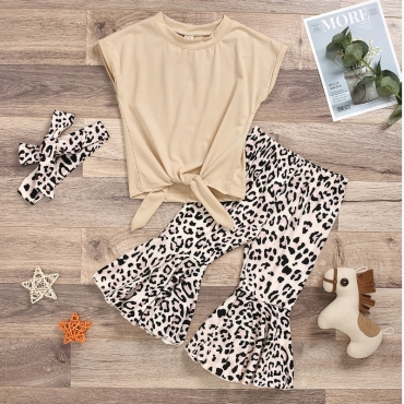 lovely Casual Print Beige Girl Two-piece Pants Set