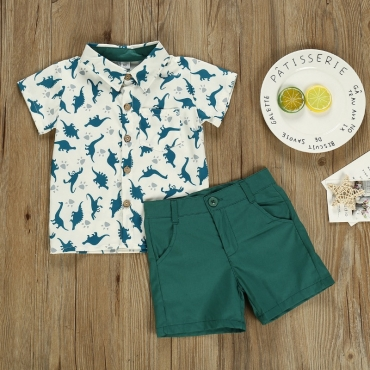 lovely Stylish Print Green Boy Two-piece Shorts Set