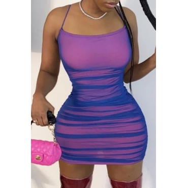 lovely Sexy Fold Design Purple Mini Dress