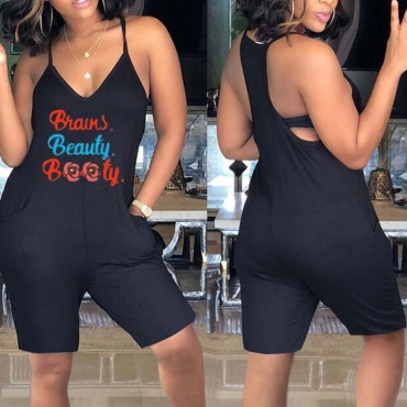lovely Leisure Letter Print Black One-piece Romper