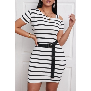 lovely Casual Striped White Mini Dress