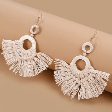lovely Bohemian Tassel Design White Earring