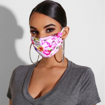Lovely Casual Print Light Pink Face Mask